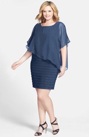 Adrianna Papell Chiffon Overlay Shutter Pleat Sheath Dress (Plus Size)