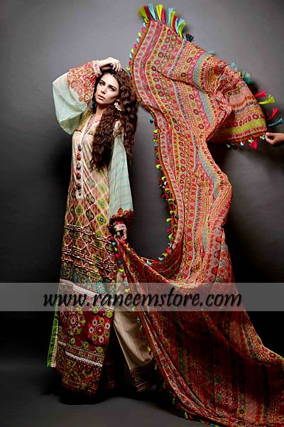 Designers Spring summer lawn collection 2014 by Ajwa Textiles London UK, Product code: HER1655, Designers Spring summer lawn collection 2014 by Ajwa Textiles London UK
