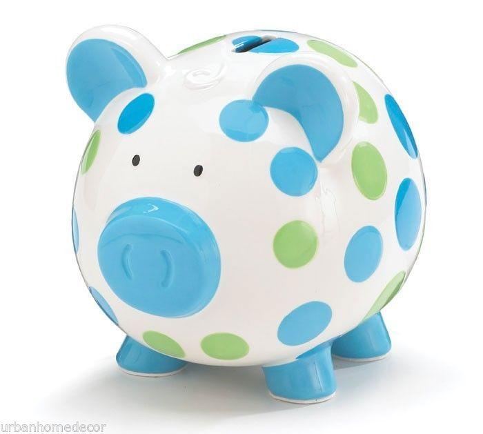 NEW Ceramic White Blue & Green Polka Dot Piggy Bank Baby GIFT burton + BURTON #BURTONBURTON