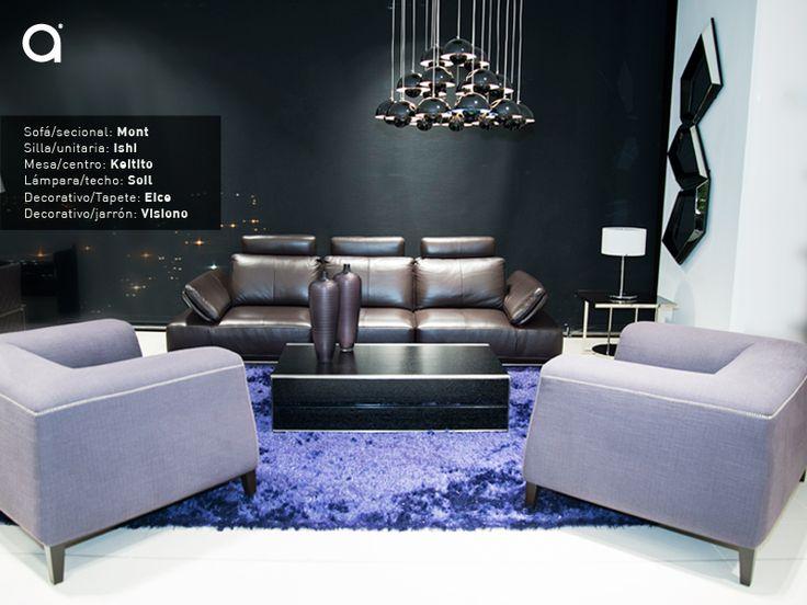 Para decorar un espacio abierto es importante elegir bien el color del mobiliario. En esta experiencia Matisses el morado, el lila y el café recrean un ambiente moderno gracias a los muebles; ya que se combina el diseño minimalista de las sillas ocasionales, con la elegancia y perfección del sofá