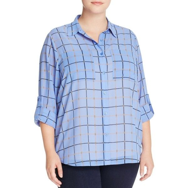 Michael Michael Kors Plus Chain Link Check Shirt ($31) ❤ liked on Polyvore featuring plus size women's fashion, plus size clothing, plus size tops, oxford blue, button down shirts, button down top, blue checkered shirt, checkered button up shirt and blue oxford shirt