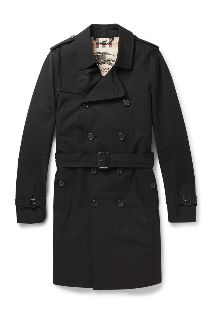 "A black trench coat makes life seem like a film noire thriller. Just make sure to go for a cropped, tailored version to avoid any ""Trench Coat"" mafia associations.  Long cotton gabardine trench coat ($1,895) by Burberry London, mrporter.com   - Esquire.com"