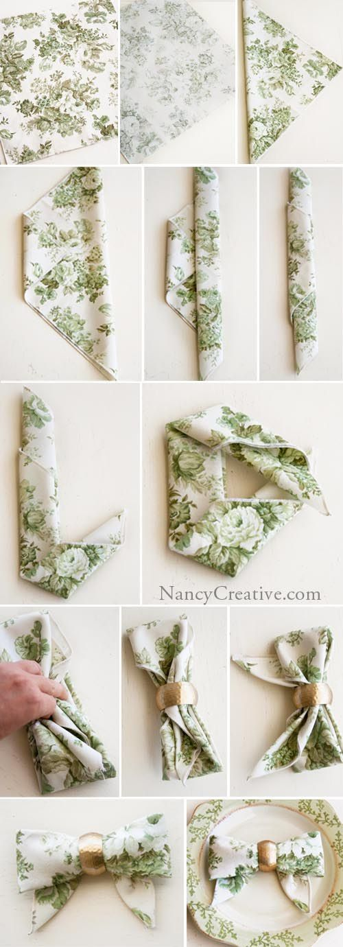 Serviette Schleife falten - - - - - - http://nancycreative.com/2012/11/27/the-bow-fold-from-top-100-step-by-step-napkin-folds/