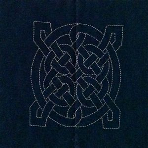 Celtic Knot 3 - a preprinted cotton fabric block for Sashiko stitching.