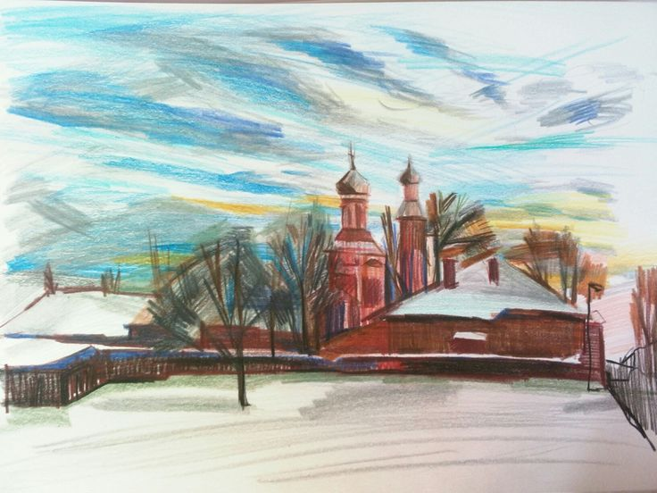 "Sveta Petleva.  ""Pink church"". Colored pencils.  2017"