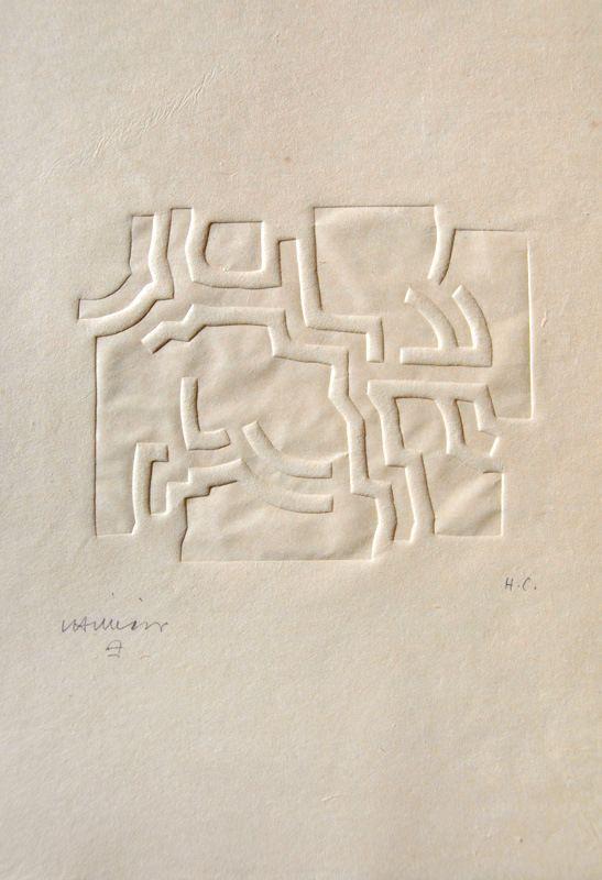 Eduardo Chillida,Más Allá IV, 1973 seltener Prägedruck (Embossing)