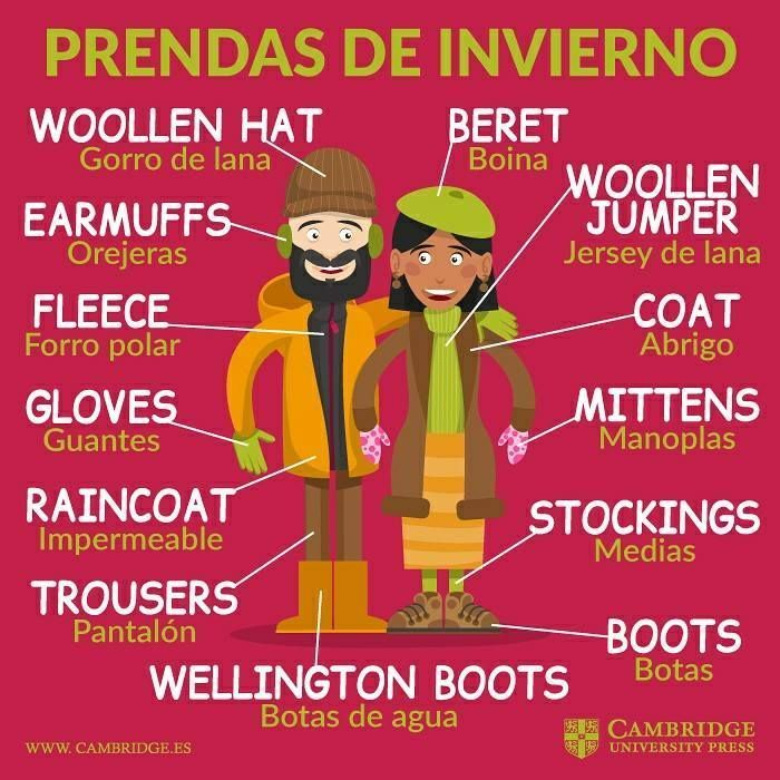 winter clothes #learnspanish | spanidh one | English course
