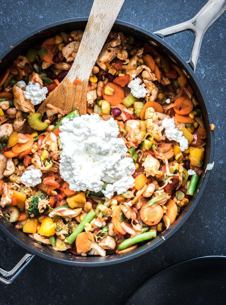 Snel eenpansgerecht met kip en groente