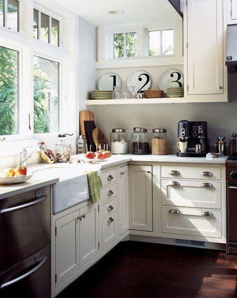 different size drawers: Kitchens Interiors, Kitchens Design, Open Shelves, Plates, Windows, Design Kitchens, Farmhouse Sinks, White Cabinets, White Kitchens