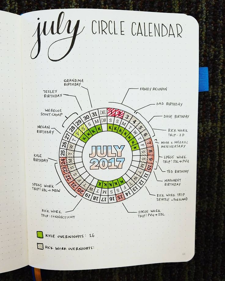NEW Bullet Journal Setup - July 2017 Circle Calendar  I finally had twenty minutes for some Bullet Journaling yesterday! So I put one of my stickers to good use for my Circle Calendar this month. What a time-saver! And I love how it turned out! I'm looking forward to lots of BuJo time this weekend, after some jet-flying!