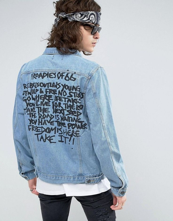 Get this Roadies's denim jacket now! Click for more details. Worldwide shipping. Roadies of 66 Stone Wash Denim Jacket with Destroy and Roadies Back Print - Blue: Jacket by Roadies, Cotton denim, Stone wash finish, Spread collar, Button placket, Chest pockets, Printed text to reverse, Regular fit - true to size, Machine wash, 100% Cotton, Our model wears a size Medium and is 185.5cm/6'1 tall. (chaqueta vaquera, vaquera, denim, jeansjacke, chaqueta denim, veste en jean, giacca in jeans)