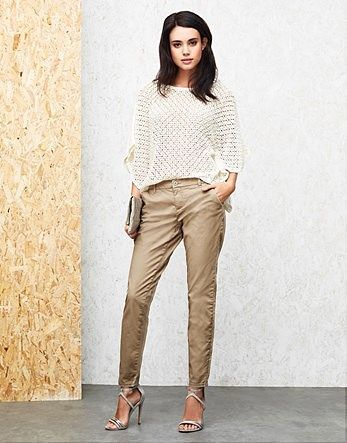 Womens beige only low skinny chino trousers from Lipsy - £25 at ClothingByColour.com