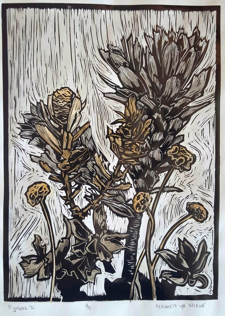 """Fynbos I Lino (Black): In my Lino art, I purposefully focused my attention on the Fynbos species that usually take the backseat to the King Protea and other obvious showpieces. I discovered the intricate beauty in the lines and shapes and textures of the Leucadendrons and seed pods of the Fynbos biosphere.  I was reminded of God's perspective on the so-called """"least of them"""" - how He lovingly lifts every one of His children up as Royalty."""