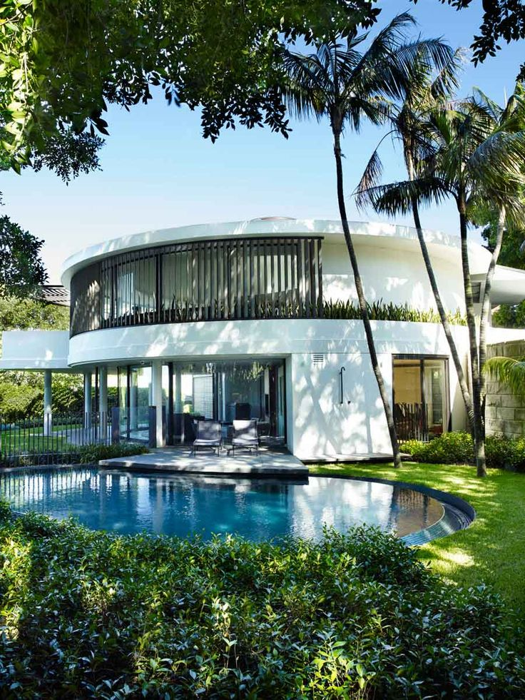 Pool & house with Howea forsteriana