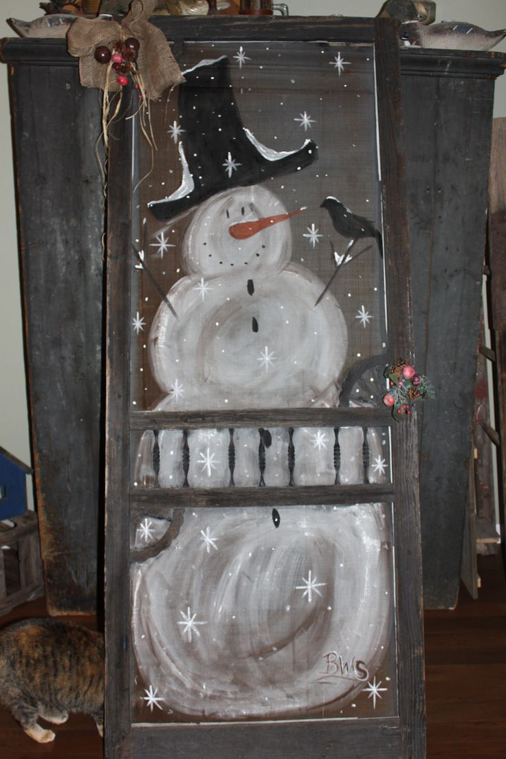 Hand painted snowman on old screen door original screen
