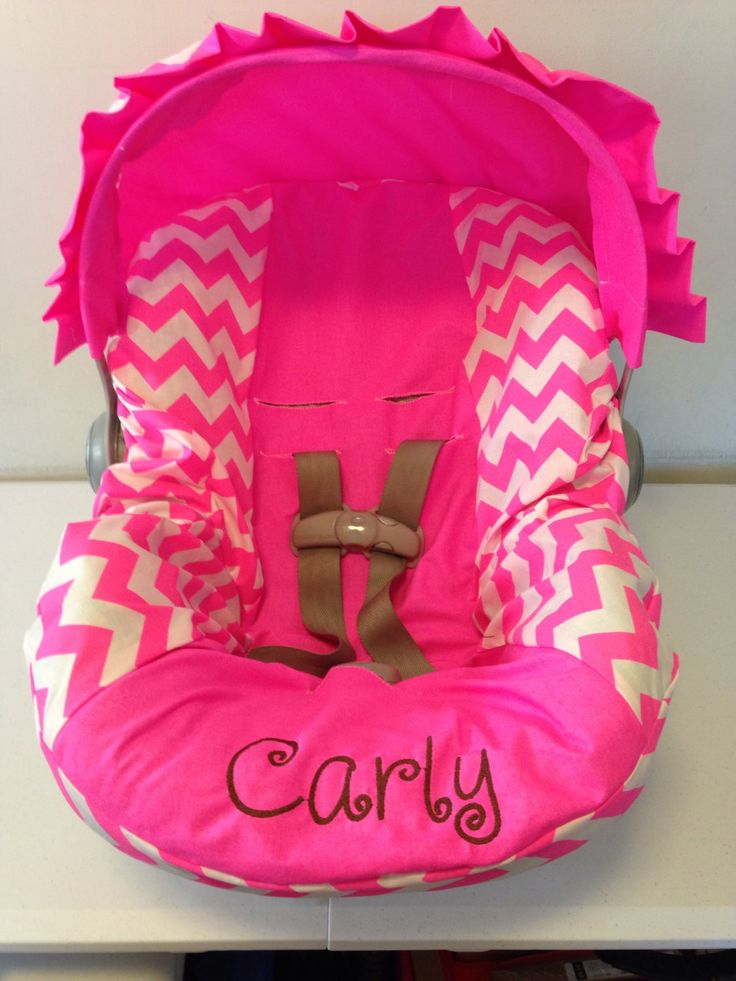 Neon Pink chevron Infant Car Seat Cover and Canopy with Free Monogram by LIZSSTITCHESdotCOM on Etsy