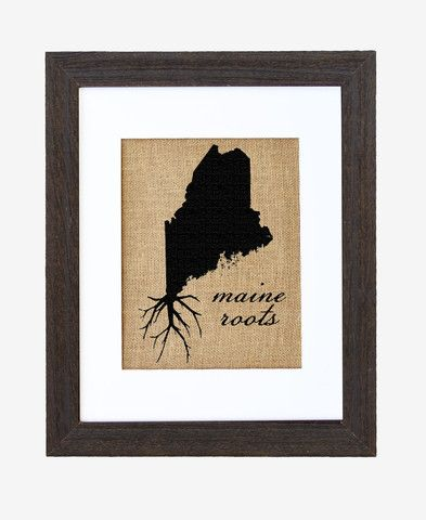 A great silhouette of the state of #Maine, enhanced with roots for those Maine natives who are never too far away. This hand-printed piece of art has beautiful texture from a combination of natural burlap and water-based paints.