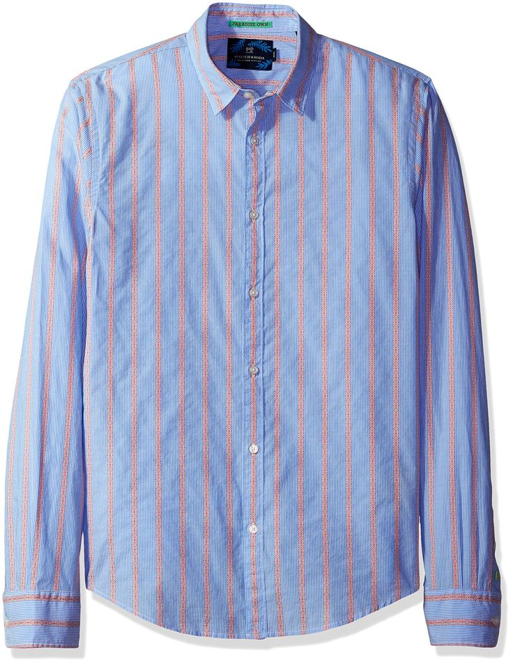 Scotch & Soda Men's Longsleeve Shirt in Crispy Poplin Quality with Special Yarn, Combo a, Small