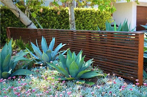 Modern, Wood, Fence, Agave  Gates and Fencing  Landscaping Network  Calimesa, CA