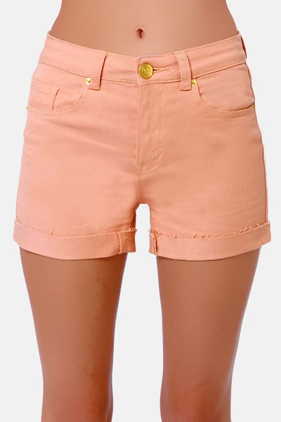 Costa Blanca Shorts - High-Waisted Shorts - Peach Shorts - $63.00
