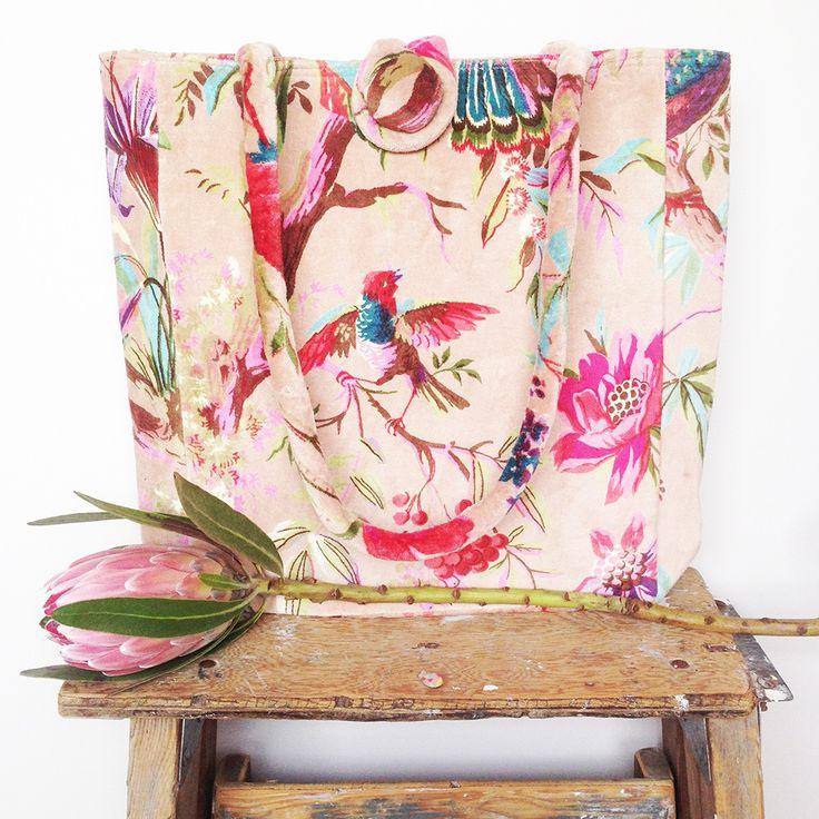 A versatile velvet tote bag in the popular bird of paradise design in natural colour www.rosaliving.co.nz www.rosaliving.com.au
