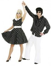 Faschingskostüm Rock on Roll-Kleid schwarz-weiß