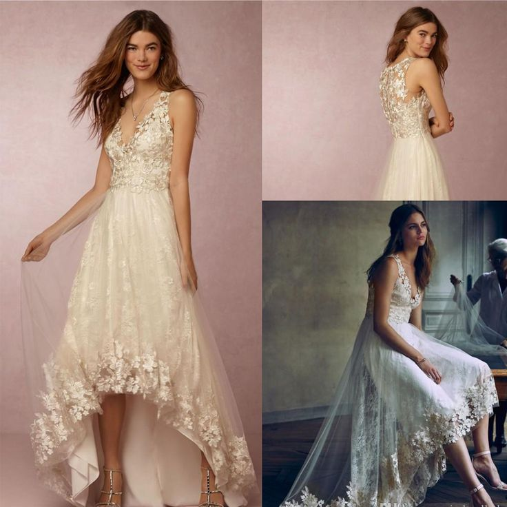 Cheap gown meaning, Buy Quality appliques for wedding gowns directly from China gowns with long sleeves Suppliers: 2016 Sexy Ivory Beach Short Wedding Dresses Plunging V Neck High Low Lace Appliques Tulle Sheer Summer Plus Size Bridal