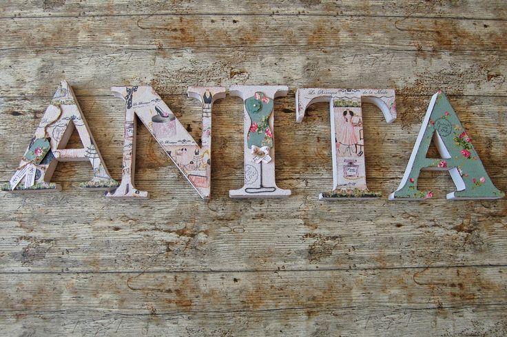 ANITA egyedileg díszített polisztirol habbetűk igény szerinti színvilággal és egyéni/egyedi stílusban rendelhetők.  A betűk 19cm magasak és a 3cm szélesek. #### name, letters handmade, baby, gift ,név, betűk, kézzel készült, bébi, ajándék...