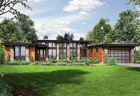 Modern House Plan with Front To Back Living - 69587AM | Contemporary, Modern, 1st Floor Master Suite, Butler Walk-in Pantry, CAD Available, Den-Office-Library-Study, Jack & Jill Bath, PDF | Architectural Designs