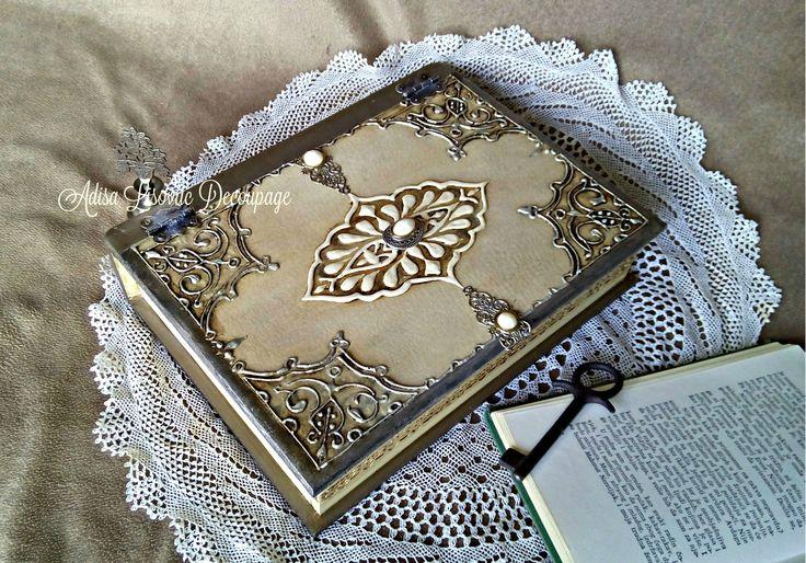 old antique book box decoupage vintage shabby chic Adisa Lisovac Decoupage