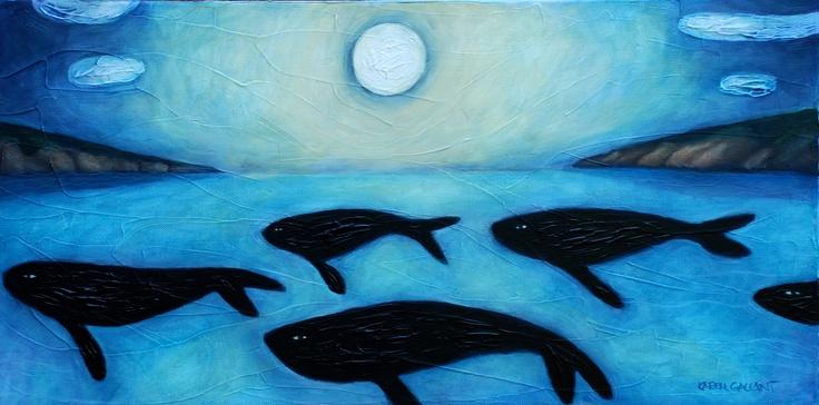 "whales - 12"" x 24"" - 2012"