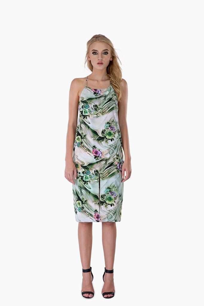 Green Floral Flowy Shift Dress – Mojau