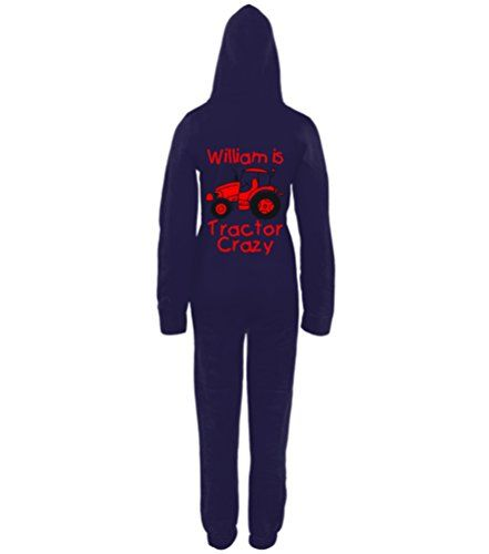 PERSONALISED TRACTOR CRAZY (DESIGN 2)' with NAME Navy Onesie with Black & Red print.