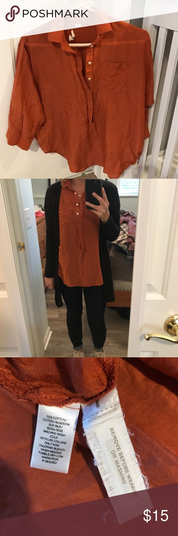 LOFT burnt orange top The softened shirt. Burnt orange half button down with chest pocket. More of a slouchy fit. No stains or tears. LOFT Tops Blouses