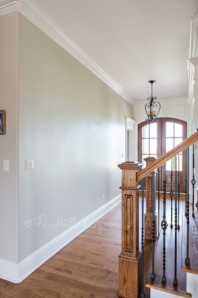 Foyer with Behr Sculptor Clay and Silky White Trim - A BM Revere Pewter Alternative - Behr Sculptor Clay #greige #neutral #paint