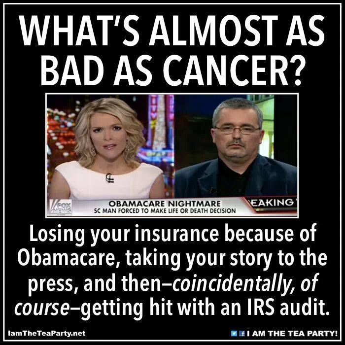 Speak out against Obamacare, win an IRS audit! Coincidentally, of course. This is crime, injustice, corruption, and sin. There you go people.