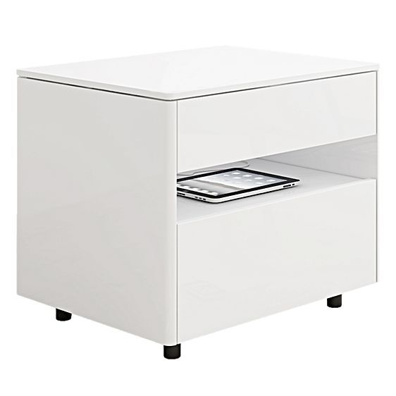 Add a touch of contemporary style to your bedroom décor with the Adams White Gloss Bedside Table from SydneySide, its clean design offering extra storage for your space
