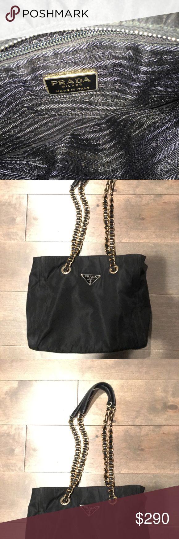 Prada Tessuto Shoulder Bag Authentic Shoulder bag with gold-tone hardware, chain link and leather strap Prada Bags Shoulder Bags