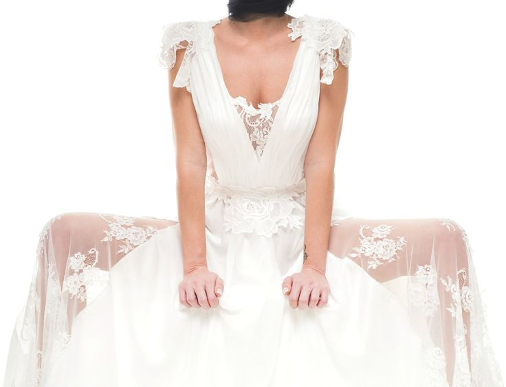 """""""Dimitris Katselis"""" bridal collection is romantic with a feminine touch . White silk chiffon dress with lace details."""