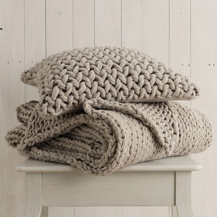 Chunky natural knits make gorgeous pillows & throws! #taupe #mushroom #grey