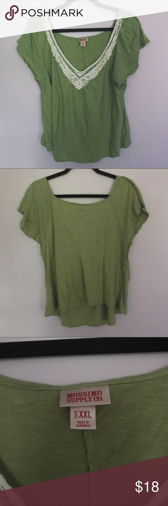 Olive Green Short Sleeve Top Excellent used condition. No flaws, rips, or stains. Lace and cotton neckline detail. Comes from a smoke free and pet friendly home. Mossimo Supply Co. Tops Tees - Short Sleeve