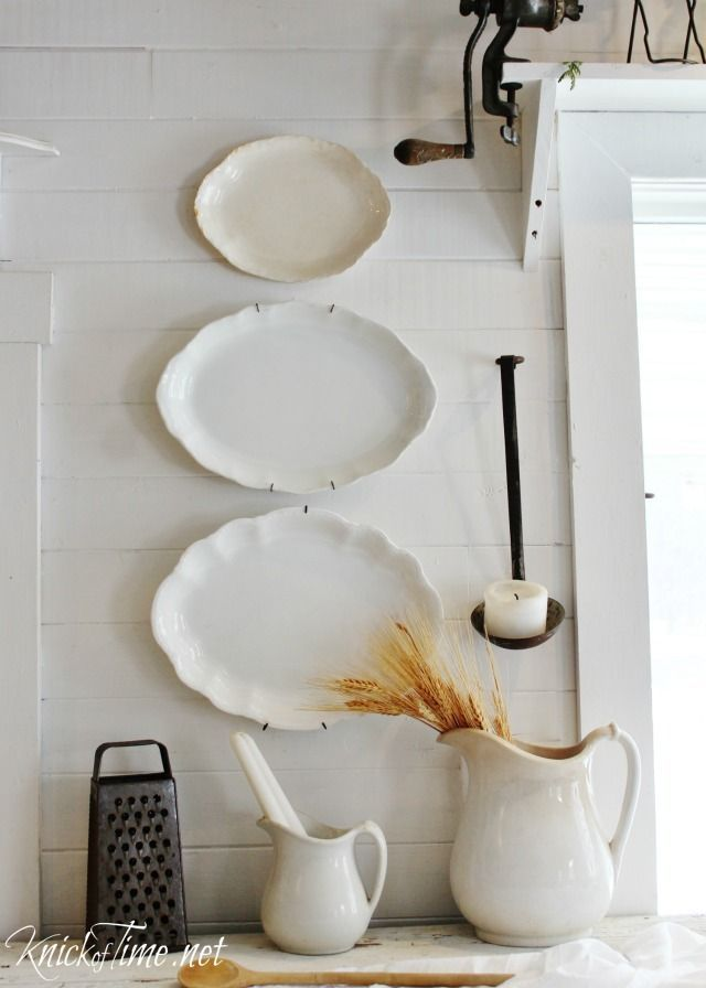 Gorgeous old platters make beautiful and simple winter white farmhouse wall decor - See more at http://knickoftime.net/