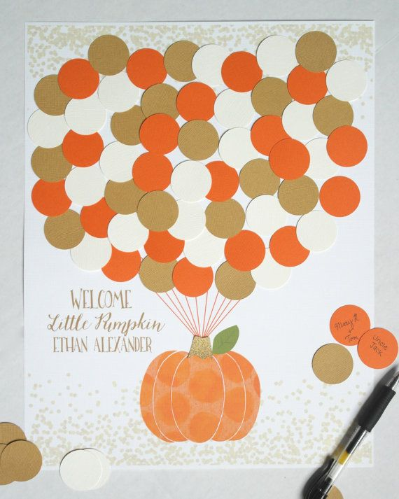 This Little Pumpkin Boy Baby Shower Guest Book Alternative is the perfect…