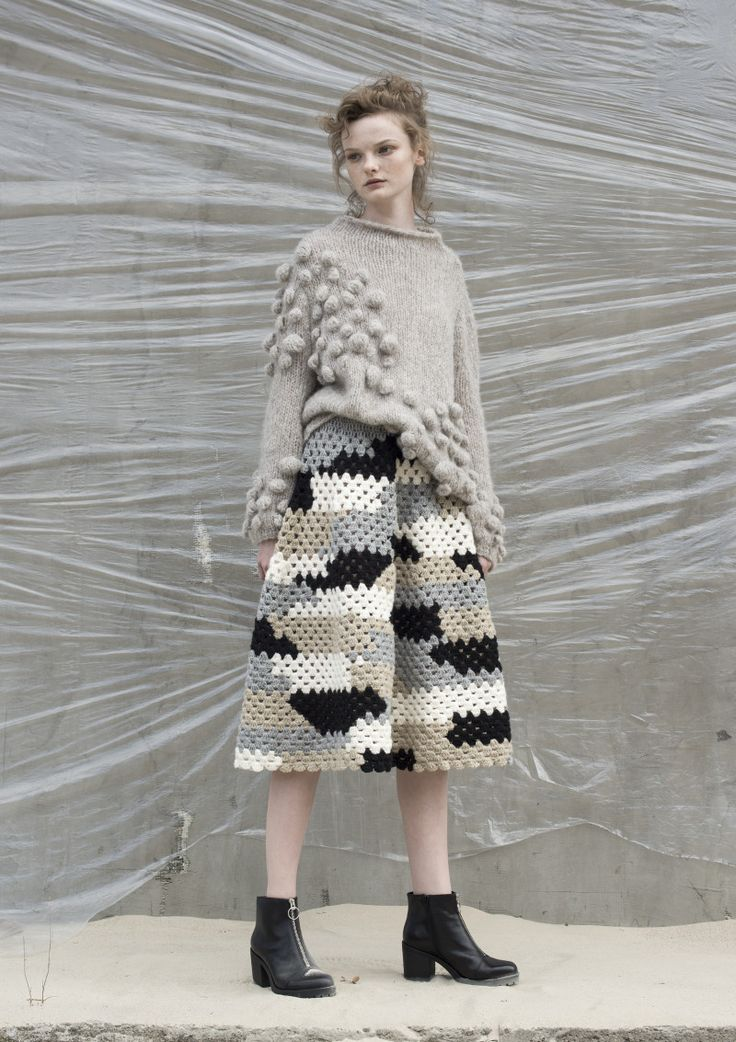 Anna Dudzińska, NATURAL THING, aw2016, sweater ROCKY, skirt SANDIK. To download high or low resolution product images view Mondrianista.com (editorial use only).