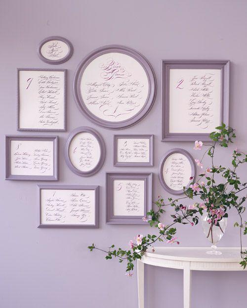 Calligraphed Seating Display - Martha Stewart Weddings Wedding flowers and decorations