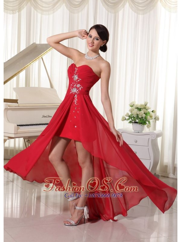 red prom dress chiffon fitted sweetheart