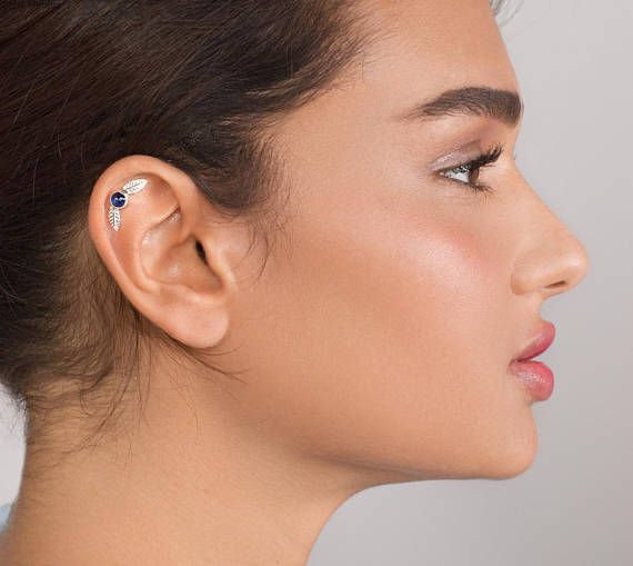 14k White Gold Leaf Helix Earring Gold Cartilage Earring Gemstone Cartilage Earring Helix Piercing Tragus Earrings Gold Cartilage Earrings Helix Earrings