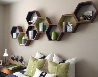 Honeycomb Cubby Shelves Mid Century Wall by HaaseHandcraft