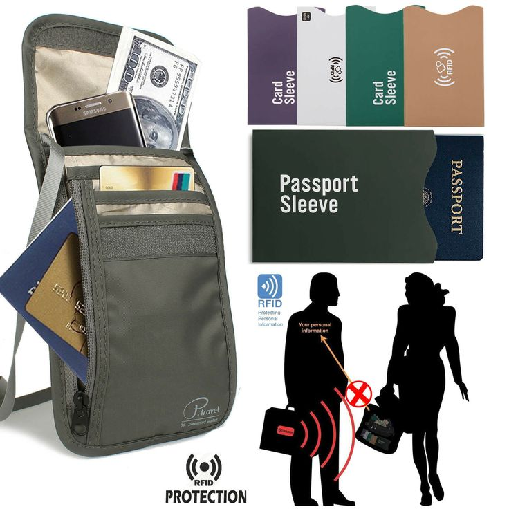RFID Blocking Passport Holder Wallet/Travel Neck Stash