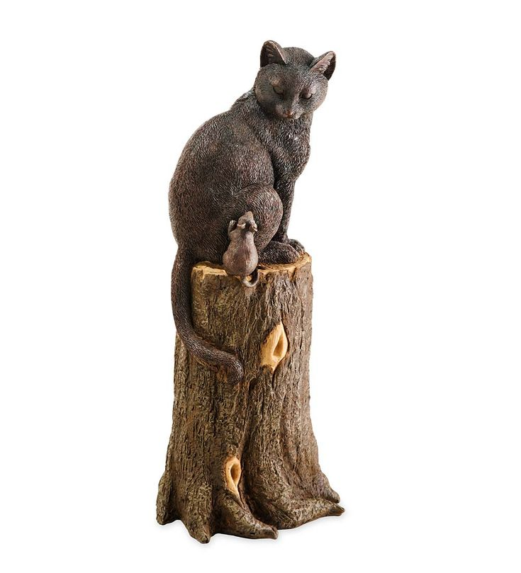 Cat And Mouse On Stump Lawn Ornament | Decorative Garden Accents